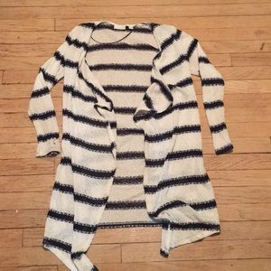New York & Company Long Striped Cardigan
